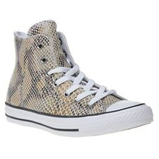 New Womens Converse Brown All Star Hi Leather Trainers Animal Lace Up