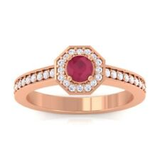 Red Ruby IJ SI Gemstone Diamond Engagement Ring Women 10K Solid Gold