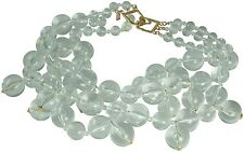 KENNETH JAY LANE-3 STRAND BEADS CLUSTER DROPS NECKLACE-CLEAR