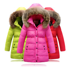 Winter jacket for girls, plush faux hair collar, hooded outerwear coat, padded