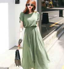 Women's Solid Round Neck Batwing Sleeves Hollow Out Shoulder Elastic Waist Dress