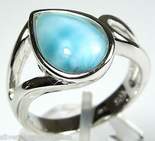 Rare AAA Genuine Dominican Larimar Solid 925 Sterling Silver Ring Size 6 or 6.5