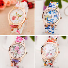 Women Girl Watch Silicone Printed Flower Causal Quartz WristWatches Lady Gifts