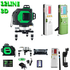 3D Green Automatic Self Leveling 12 Line 360 Rotary Cross Laser w/ Receiver CO