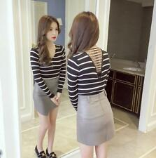 Women's Stretchy Ribbed Deep V Hollow Out Back Long Sleeve Pullover Sweater Tops