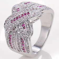925 Silver Infinity Ring Pink& White Topaz Jewelry Wedding Engagement Size 6-10