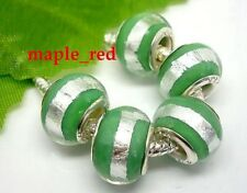 Fashion Round Foil Green European Style Lampwork Glass Beads fit Charm Bracelet