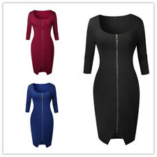 Women Solid Square Neck 3/4 Sleeves Front Slit Zip Up Bodycon Asymmetric Dress