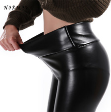 Women Faux Leather Leggings Winter Keep Warm High Waist Jegging Ankle-length Lar