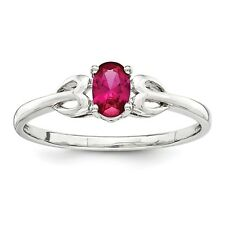 925 Sterling Silver July Oval Birthstone Created Ruby Gemstone Ring Size 5 - 10