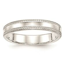 925 Sterling Silver Polished Edged Design 4mm Wedding Ring Band Size 4 - 12