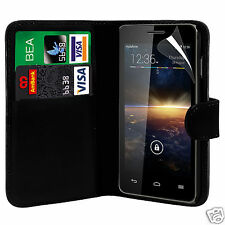 Black PU Leather Wallet Flip Case Cover & Screen Protector For Various Phones