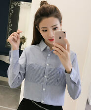 Women's Striped Patckwork Lapel Long Sleeve Casual Button Down Shirt Blouse