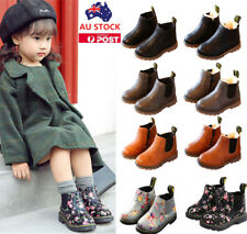 Kids Girls Boys Leather Martin Snow Boots Fur Winter Warm Shoes Zip Ankle Boots
