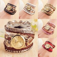 Womens PU Leather Weave Wrist Watch Bracelet Quartz Fashion Watch Female Dress