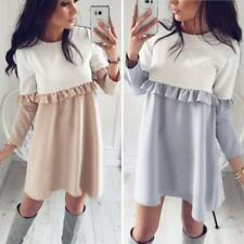Women Color Block Crew Neck Long Sleeve Ruffle Hem Loose Mini Dress Long Blouses