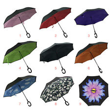 Windproof Reverse Folding Double Layer Inverted Umbrella C-Hook Hands
