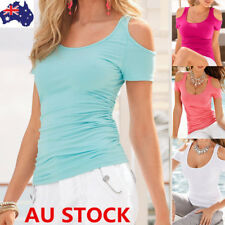 Women Summer Off Shoulder Short Sleeve Shirt Tops Ladies Casual Blouse S-5XL