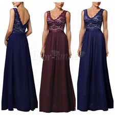 Ladies Maxi Backless Dress Women's Deep V Neck Lace Chiffon Evening Party Gown