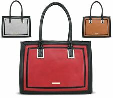WOMENS HANDBAG FAUX LEATHER LYDC BLOCK CONTRAST LARGE TOTE SHOPPER SHOULDER BAG