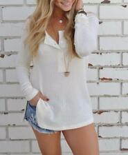 Women's Waffle Solid Scoop Neck Long Sleeve Side Slit Bottons Henley Shirts Tops