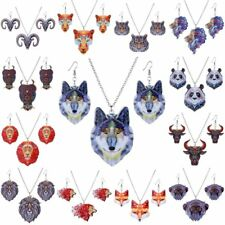 Hot Fashion Printing Cute Animal Owl Panda Pendant Necklace Earrings Jewelry Set