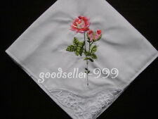 12 Pieces / 6 Pieces Lace & Embroidered 28cm x 28cm 100% Cotton Handkerchiefs
