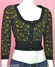 Betsey Johnson Angora Leopard Cropped Green Cardigan Sweater Glee Belle Liar