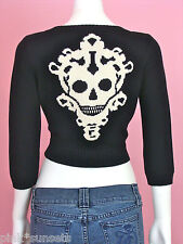 BETSEY JOHNSON Skeleton Key Cropped Cardigan Black knit Sweater Skull Top S M L