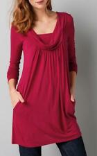 Women's Casual Solid Cowl Neck Pocket Pleated Front Long Shirt Top T Mini Dress