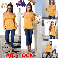 Autumn Women Off Shoulder Long Sleeve Knitted Sweater Jumper Pullover Top Blouse