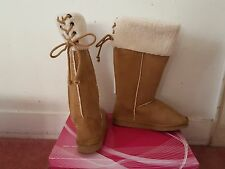 Women's New Stylish Rasolli Faux Fur Lined Camel Boots FREE SHIPPING