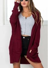 Women's Solid Open Front Ribbed Front Pocket Sweater Long Cardigan Coat 4 Colors