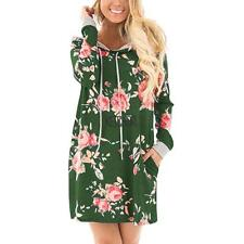 Women Fashion Hooded Long Sleeve Floral Print Pullover Hoodie Dress KECP 01