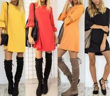 Women Crew Neck Mid Flare Sleeves Hollow Out Slim Fit Mini Short Solid Dress
