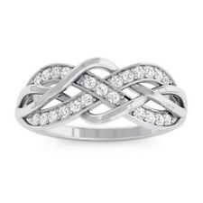 0.17ct GH SI Natural Round Diamonds Womens Infinity Ring Design White Gold
