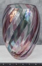 Bohemian Czech Republic Pink and Blue Swirl Art Glass Vase jds2