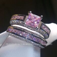 2PCS/Set Women 925 Silver  Ring Pink Sapphire Wedding Engagement Size 6-10