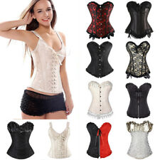 Waist Trainer Boned Lace Up Steampunk Faux Leather Corset Bustier Top Lingerie