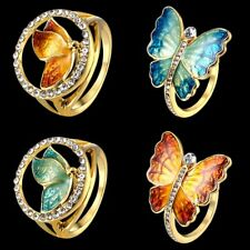 Women Cute Crystal Rhinestone Enamel Butterfly Ring Lady Fashion Jewelry Gift