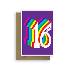 Personalised 16th happy birthday card for boy for girl edit name colourful 16