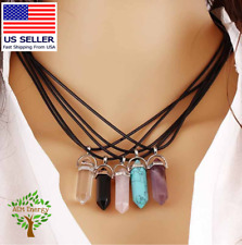Natural Quartz Crystal Chakra Healing Reiki Necklace Stone Gemstone Pendant Gift