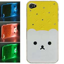 Cute Bear Pattern Flasher LED Color Changed Protective Case for iPhone 4 / 4S