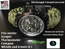 US Military Green Paracord Survival Bracelet 46mm Analog Digital Tactical Watch