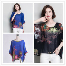 Women's Chiffon Flower Print Round Neck Batwing 1/2 Sleeve Back Button Top Shirt