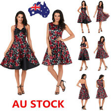 Women Vintage 50s Floral Sleeveless Swing Dress Evening Party Cocktail Dress