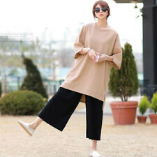 Women's Fashion Solid Round Neck Slit Sleeve Shift High-low Long Straight Dress