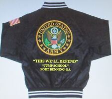 ARMY AIRBORNE*JUMP SCHOOL*FORT BENNING-GA *ARMY EMBROIDERED 2-SIDED SATIN JACKET