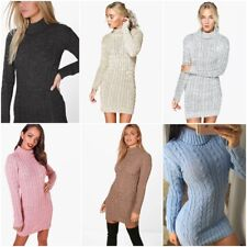 WOMENS CABLE KNITTED JUMPER DRESS LADIES POLO ROLL NECK STRETCH CHUNKY TUNIC TOP