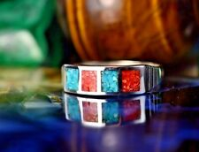 Sterling silver Turquoise & Red Coral inlaid & stamped ring 6.5, 7, 8, or 9